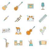 Linha grupo dos ícones da música Fotografia de Stock Royalty Free