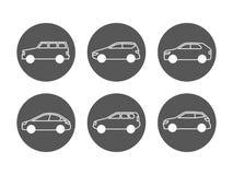 Linha grupo dos carros do vetor dos ícones Ícones do automóvel da vista lateral ilustração royalty free