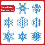 Linha grupo dos flocos de neve do ícone Foto de Stock Royalty Free