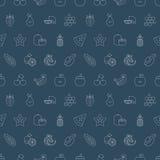 Linha grupo dos frutos do teste padrão do ícone Fotos de Stock