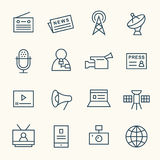 Linha grupo dos meios do ícone Imagem de Stock Royalty Free