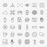 Linha grupo grande dos ícones do projeto da realidade virtual Fotografia de Stock Royalty Free