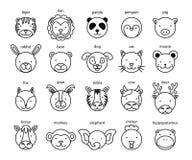 Linha grupo principal animal do ícone Ilustração do vetor ilustração royalty free