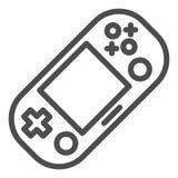 Linha Handheld ícone do console do jogo Ilustração portátil do vetor da almofada do jogo isolada no branco Projeto do estilo do e ilustração royalty free