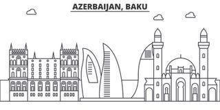 Linha ilustração da arquitetura de Azerbaijão, Baku da skyline Arquitetura da cidade linear com marcos famosos, vistas do vetor d Imagem de Stock
