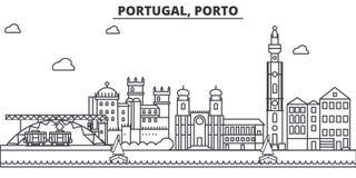 Linha ilustração da arquitetura de Portugal, Porto da skyline Arquitetura da cidade linear com marcos famosos, vistas do vetor da ilustração stock