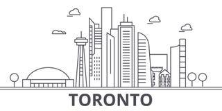 Linha ilustração da arquitetura de Toronto da skyline Arquitetura da cidade linear com marcos famosos, vistas do vetor da cidade, Fotos de Stock Royalty Free