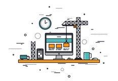 Linha ilustração da construção do Web site do estilo ilustração stock