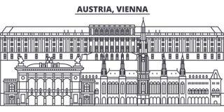 Linha ilustração de Áustria, Viena do vetor da skyline Áustria, arquitetura da cidade linear com marcos famosos, vistas de Viena  ilustração do vetor