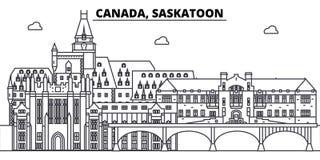 Linha ilustração de Canadá, Saskatoon do vetor da skyline Canadá, arquitetura da cidade linear com marcos famosos, cidade de Sask Imagem de Stock Royalty Free