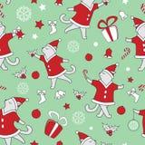 Linha ilustração de dança bonito do vetor dos gatos da garatuja da arte Teste padrão sem emenda do Natal ilustração stock
