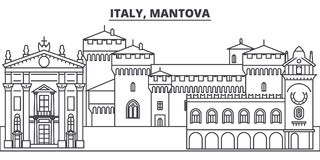 Linha ilustração de Itália, Mantova do vetor da skyline Itália, arquitetura da cidade linear com marcos famosos, vistas de Mantov ilustração stock