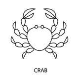 Linha ilustração do caranguejo do vetor do ícone Imagens de Stock Royalty Free