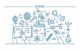 Linha ilustração do vetor do contorno da arte Palavra da ciência e conceito da tecnologia bandeira lisa do projeto para o Web sit ilustração do vetor
