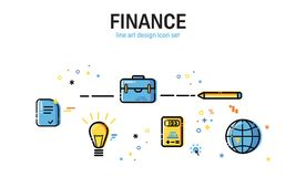 Linha ilustração lisa do estilo da arte Grupo de desenvolvimento de aplicações, de negócio e de informação Ícones e elementos Imagens de Stock Royalty Free