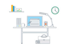 Linha ilustração simples de um grupo moderno do conceito do negócio Foto de Stock