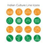 Linha indiana ícones de Colorfull da cultura EPS10 ilustração stock