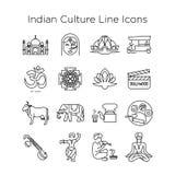 Linha indiana ícones do vetor da cultura EPS10 imagem de stock