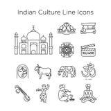 Linha indiana ícones do vetor da cultura EPS10 ilustração stock