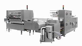 Linha industrial para empacotar de produtos da padaria Embalagem do pão na fábrica imagem de stock royalty free