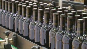 Linha industrial para o vinho de engarrafamento video estoque