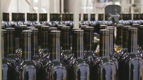 Linha industrial para o vinho de engarrafamento vídeos de arquivo