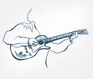 Linha instrumento do esboço da guitarra das mãos de música do projeto do vetor ilustração royalty free