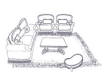 Linha interior das poltronas do sofá Imagens de Stock Royalty Free