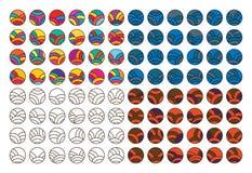 Linha japonesa grupo do círculo ilustração do vetor