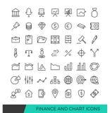Linha linear ícones da finança e da carta Imagens de Stock