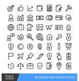 Linha linear ícones do negócio e do dinheiro Fotos de Stock