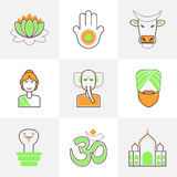 Linha lisa ícones ajustados da Índia Imagem de Stock Royalty Free