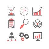 Linha lisa ícones ajustados do processo de planeamento empresarial Fotografia de Stock