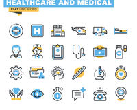 A linha lisa ícones ajustou-se do tema dos cuidados médicos e da medicina Fotografia de Stock Royalty Free
