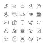 Linha lisa ícones da compra em linha Negócio do comércio eletrônico, contatos, apoio, redes sociais, cesta da loja, venda, entreg ilustração do vetor