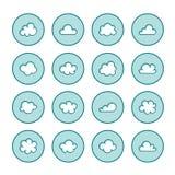 Linha lisa ícones da nuvem Nubla-se os símbolos para o armazenamento de dados, sinais finos da previsão de tempo para hospedar ilustração royalty free