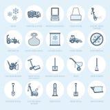 Linha lisa ícones da remoção de neve Sinais do serviço do internamento do gelo Equipamento do tempo frio - atirador de neve, vent ilustração royalty free