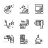 Linha lisa ícones do centro de serviço do carro ilustração stock
