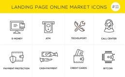 Linha lisa ícones do conceito de projeto para a compra em linha, a bandeira do Web site e a página da aterrissagem Imagens de Stock