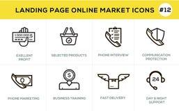 Linha lisa ícones do conceito de projeto para a compra em linha, a bandeira do Web site e a página da aterrissagem Imagem de Stock