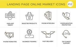 Linha lisa ícones do conceito de projeto para a compra em linha, a bandeira do Web site e a página da aterrissagem Imagens de Stock Royalty Free