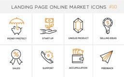 Linha lisa ícones do conceito de projeto para a compra em linha, a bandeira do Web site e a página da aterrissagem Foto de Stock