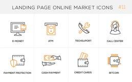 Linha lisa ícones do conceito de projeto para a compra em linha, Web site Foto de Stock