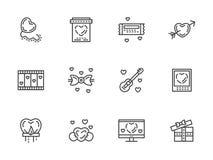 Linha lisa ícones do dia de Valentim ajustados Fotos de Stock Royalty Free