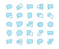 Linha lisa ícones do discurso da bolha do discurso Bate-papo, comentário, ilustrações da ideia Sinais finos para o conceito de um Imagem de Stock