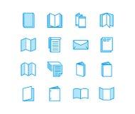 Linha lisa ícones do folheto Ilustrações do vetor da identidade do negócio - cabeçalho, brochura, inseto, folheto, incorporado ilustração stock