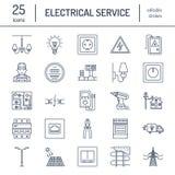 Linha lisa ícones do vetor da engenharia da eletricidade ilustração royalty free