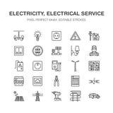 Linha lisa ícones do vetor da engenharia da eletricidade elétrico ilustração stock