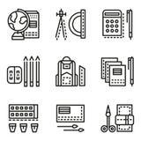 Linha lisa ícones dos acessórios da escola ilustração stock