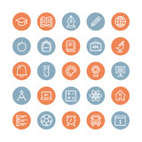 Linha lisa ícones dos artigos da educação ilustração stock
